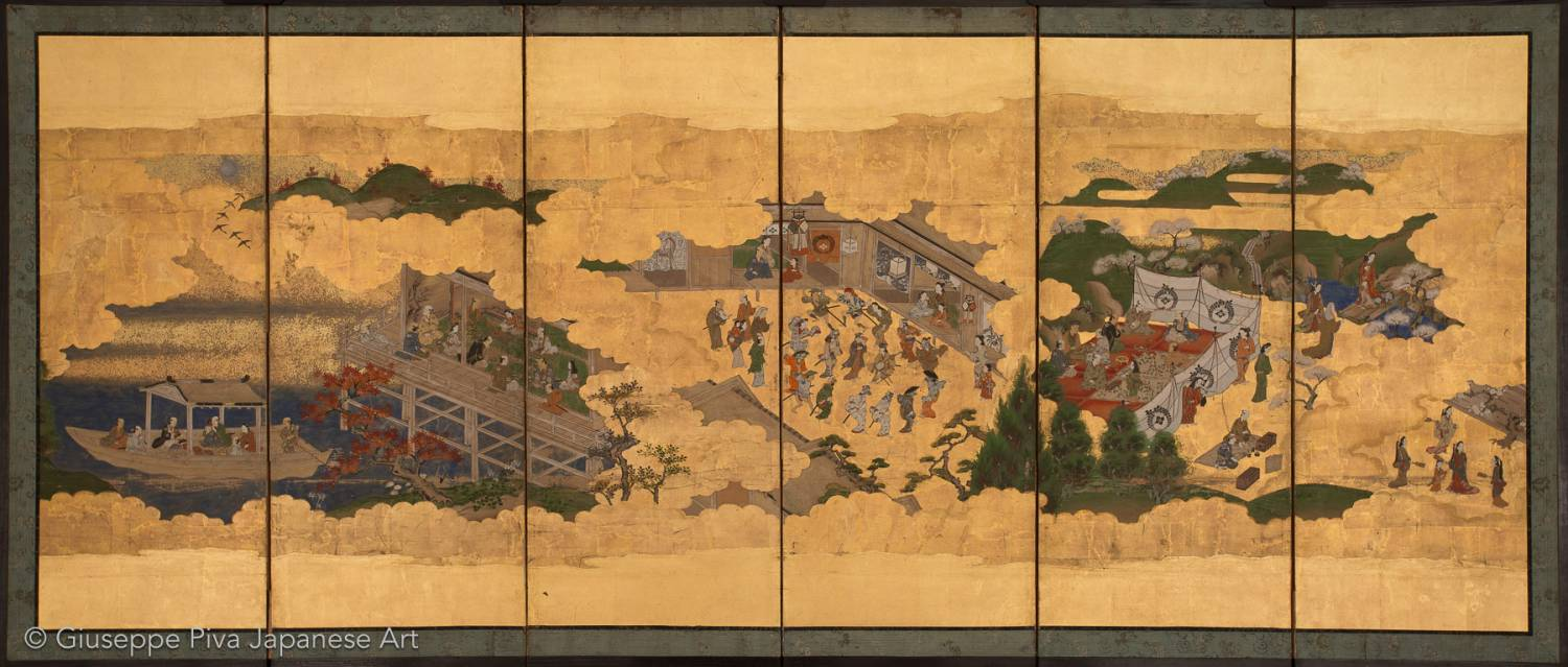 Folding screen with amusements during the four seasons