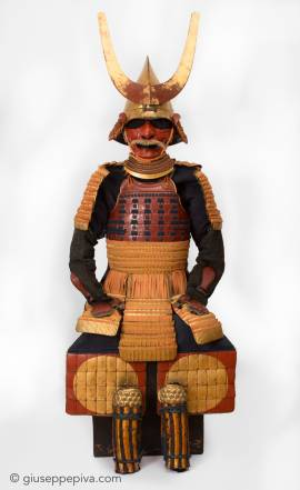 Red and gold lacquer Japanese samurai armor, 17th Century