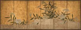 Six-panel folding screen; ink, colors, gold leaf on paper