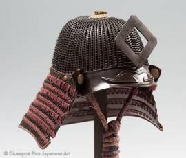 Koboshi kabuto Black lacquered samurai helmet with standing rivets